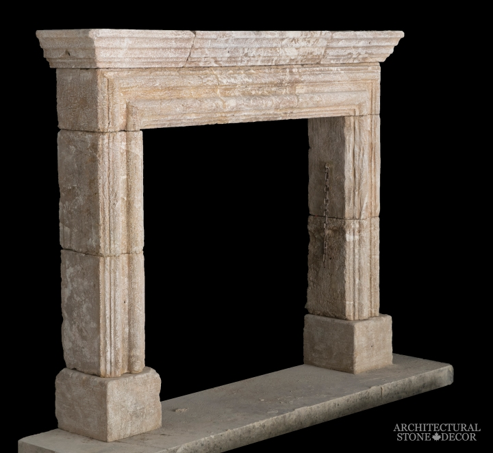 Architectural-Stone-Decor-Limestone-Stone-Fireplace-Antique-Reclaimed-Mantel-art-deco