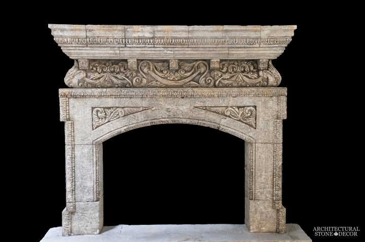 Architectural-Stone-Decor-Limestone-Stone-Fireplace-Antique-Reclaimed-Mantel-neo-classic