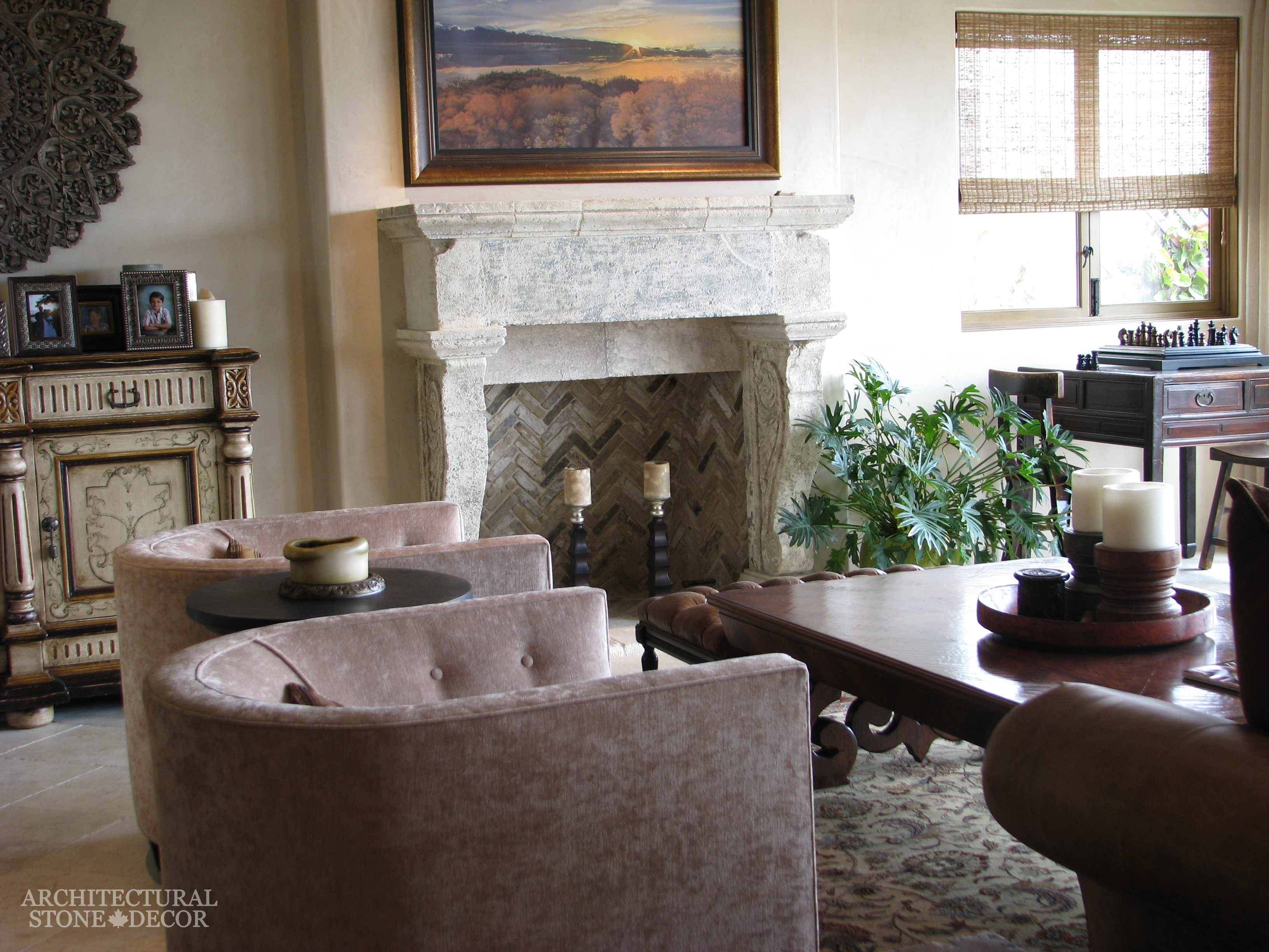 Traditional limestone fireplace mantels integrated into a classic or modern home from Gothic