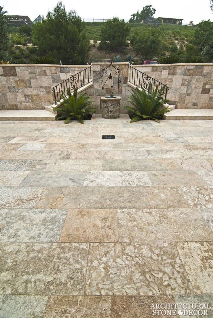 backyard well head wishing well barre blonde flooring Reclaimed Natural Limestone stone hand carved landscape ideas outdoor design eco-friendly sustainable recycled re-modeled re-used canada
