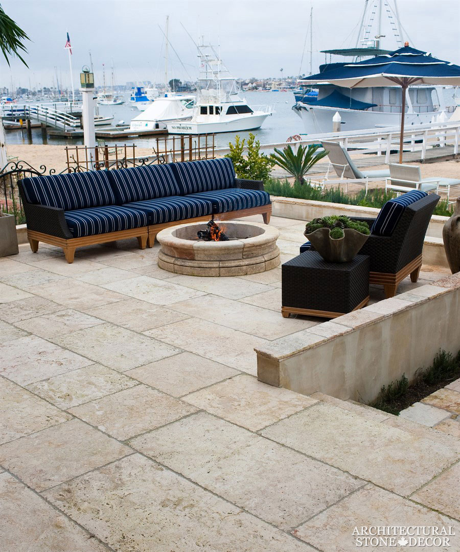 Mediterranean Terrace With Barre Blonde Salvaged Reclaimed Flooring Natural Limestone Stone Hand Carved Landscape Ideas