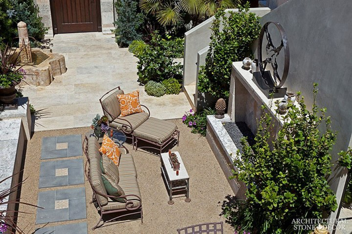 backyard barre blonde flooring pool fountain fire pit Reclaimed Natural Limestone stone hand carved landscape ideas outdoor design eco-friendly sustainable recycled re-modeled re-used Canada