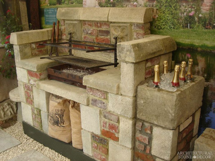 alfresco outdoor kitchen countertop Reclaimed salvaged Natural Limestone stone hand carved landscape ideas outdoor design eco-friendly sustainable recycled re-modeled re-used canada