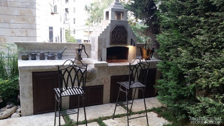 alfresco outdoor kitchen mediterranean sink pizza oven barbecue Reclaimed Natural Limestone stone hand carved landscape ideas outdoor design eco-friendly sustainable recycled re-modeled re-used Canada