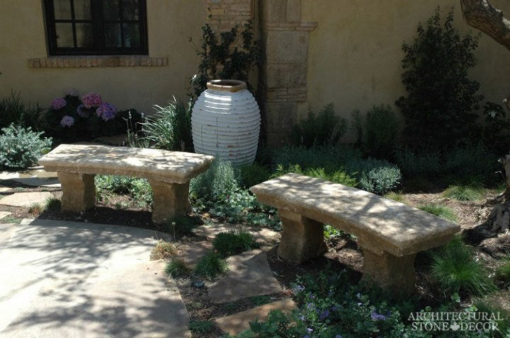 garden outdoor benches salvaged antique reclaimed limestone old rustic hand carved landscape ideas outdoor design eco-friendly sustainable recycled re-modeled re-used Canada