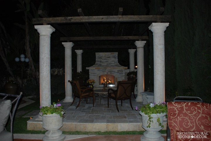 terrace salvaged antique reclaimed limestone natural stone old rustic columns hand carved pergola landscape ideas outdoor design eco-friendly sustainable recycled re-modeled re-used Canada