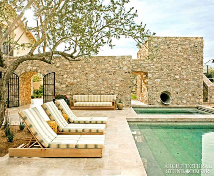 Pool coping garden outdoor benches salvaged antique reclaimed limestone old rustic hand carved landscape ideas outdoor design eco-friendly sustainable recycled re-modeled re-used Canada