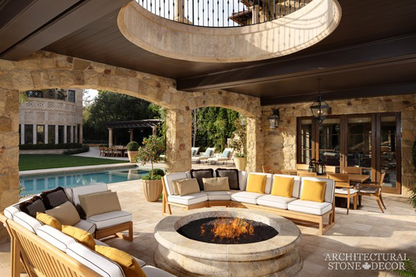 Mediterranean style salvaged Reclaimed Natural Limestone circular round stone Fire pit landscape ideas outdoor design eco-friendly sustainable recycled