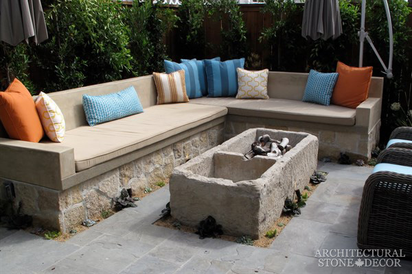 Reclaimed Natural Limestone stone salvaged rectangluar Fire pit landscape ideas outdoor design eco-friendly sustainable recycled re-modeled re-used Canada