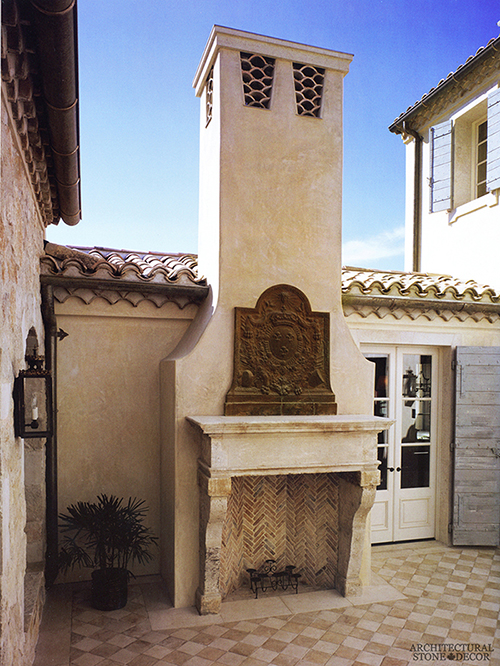 Courtyard outdoor fireplace mantel salvaged Reclaimed Natural Limestone stone landscape ideas outdoor design eco-friendly sustainable recycled re-modeled re-used canada