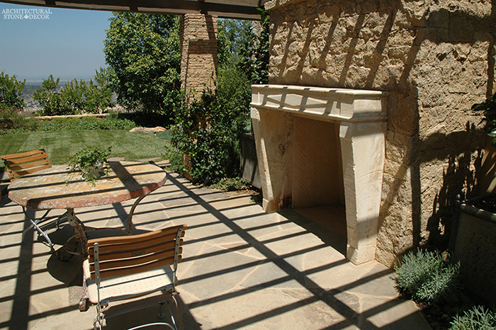 Terrace French country provence style outdoor fireplace mantel Reclaimed Natural Limestone stone landscape ideas outdoor design eco-friendly sustainable recycled re-modeled re-used canada