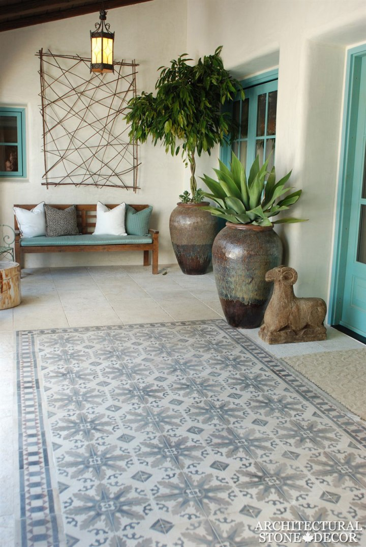 terrace salvaged antique reclaimed old rustic french colored cement tiles flooring carved landscape ideas outdoor design eco-friendly sustainable recycled re-modeled re-used Canada