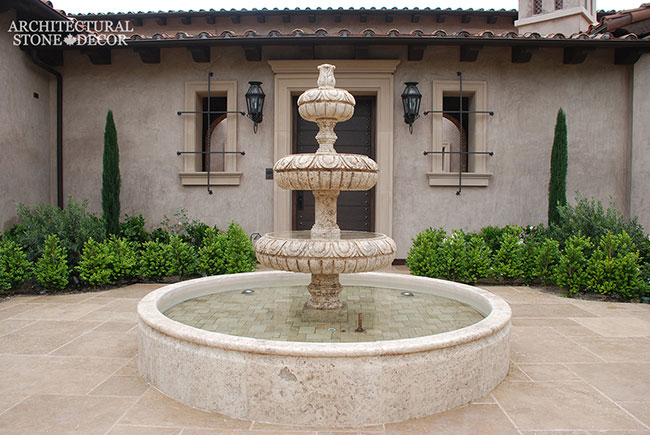 French country courtyard 3 tier pool fountain salvaged hand carved Reclaimed Natural Limestone stone landscape ideas outdoor design eco-friendly sustainable recycled re-modeled re-used canada