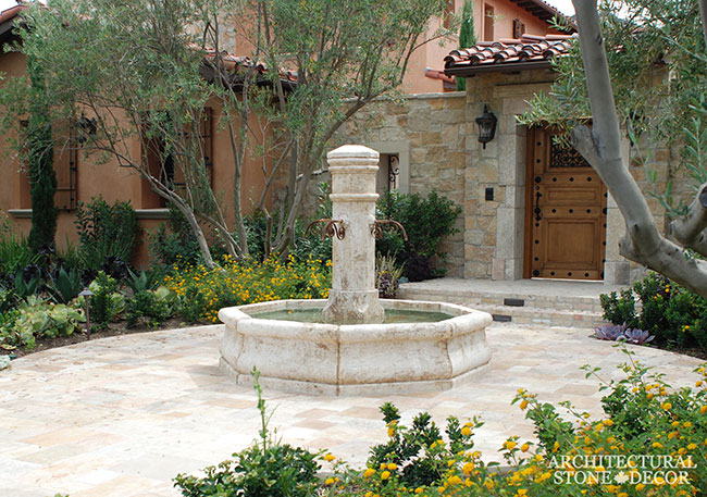 courtyard Tuscan style pool fountain flooring Reclaimed Natural Limestone stone landscape ideas outdoor design eco-friendly sustainable recycled re-modeled re-used canada
