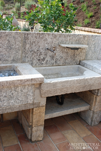 alfresco outdoor kitchen sink counter ice trough Reclaimed Natural Limestone stone hand carved landscape ideas outdoor design eco-friendly sustainable recycled re-modeled re-used canada
