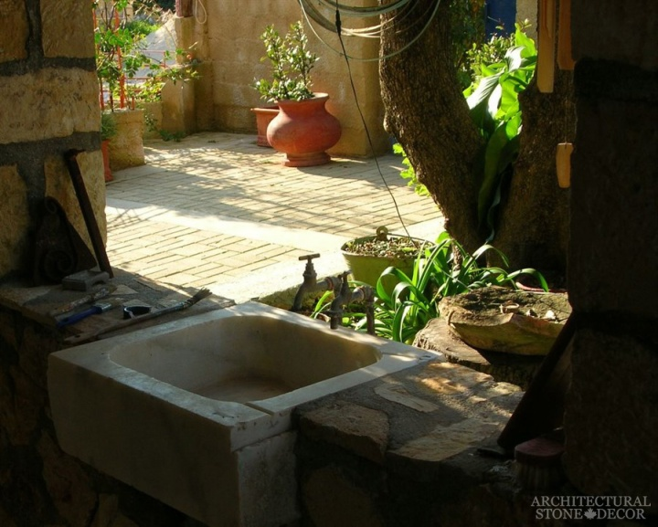 alfresco outdoor kitchen sink Reclaimed salvaged Natural Limestone stone hand carved landscape ideas outdoor design eco-friendly sustainable recycled re-modeled re-used canada