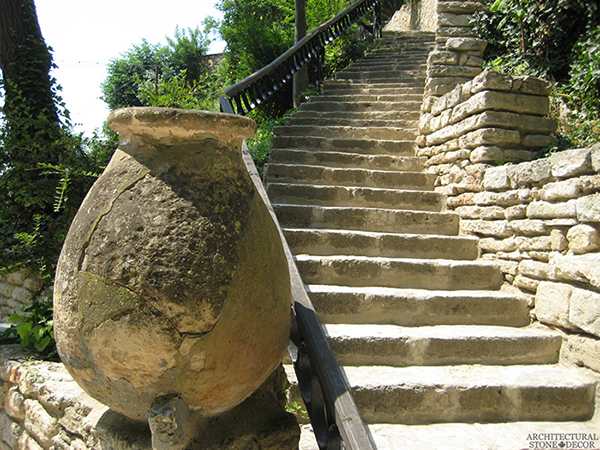 stair steps terracotta vase Reclaimed old rustic Natural Limestone stone hand carved landscape ideas outdoor design eco-friendly sustainable recycled re-modeled re-used Canada