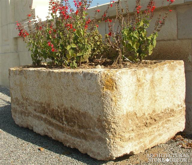 backyard trough salvaged limestone natural stone antique reclaimed old rustic hand carved landscape ideas outdoor design eco-friendly sustainable recycled re-modeled re-used Canada