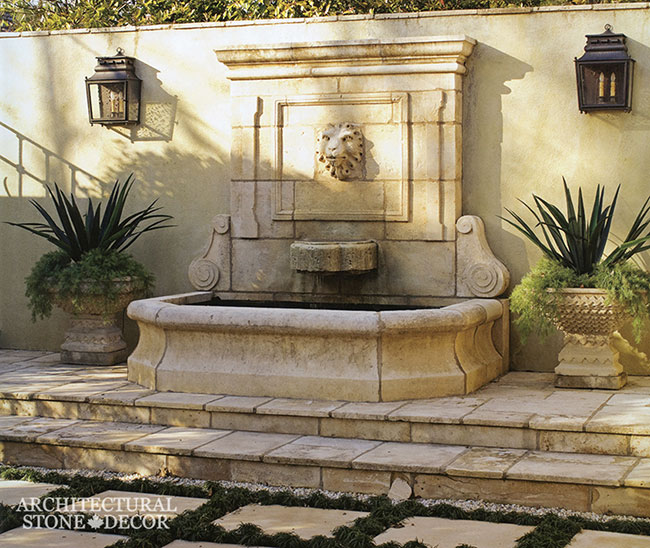 WFTN-41-limestone-hand carved-reclaimed-wall fountain-backyard-canada