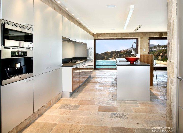 Modern-Neolithic-limestone-rustic-kitchen-flooring-countertop-butcher-block-antique-slab-sink-coastal-mediterranean-1