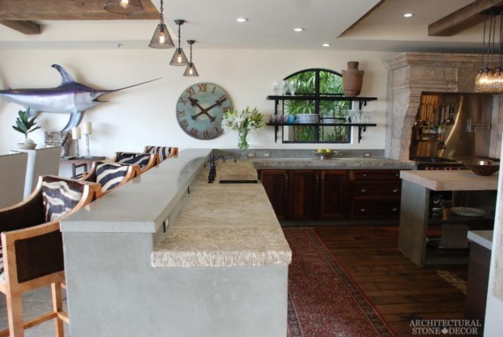Modern-Neolithic-limestone-rustic-kitchen-flooring-countertop-butcher-block-antique-slab-sink-coastal