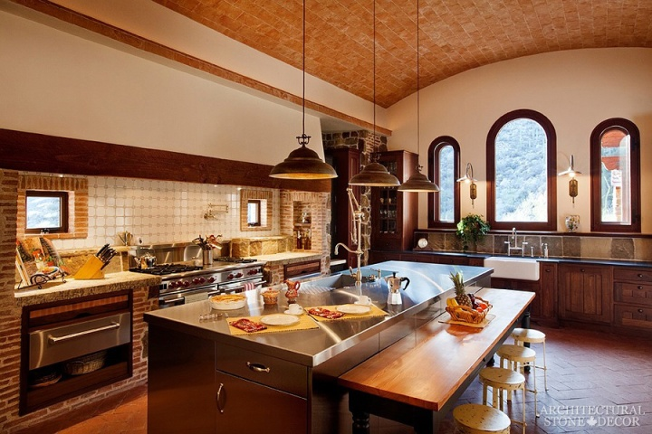 Tuscan-kitchen-reclaimed-limestone-sink-countertop-flooring-hood
