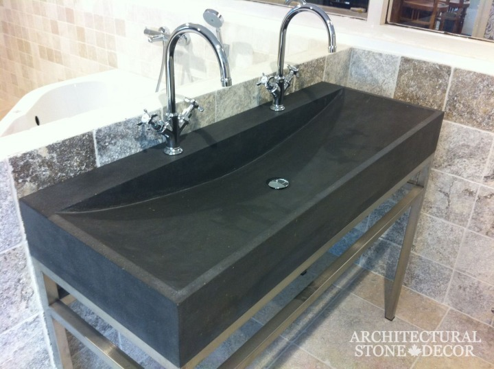 Bathroom-dual-double-sink-Belgium-Black-Basalt-modern-style-powder-room