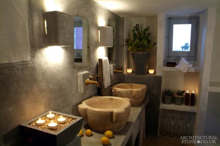 bathroom-his-and-hers-vessel-egg-reclaimed-limestone-sink
