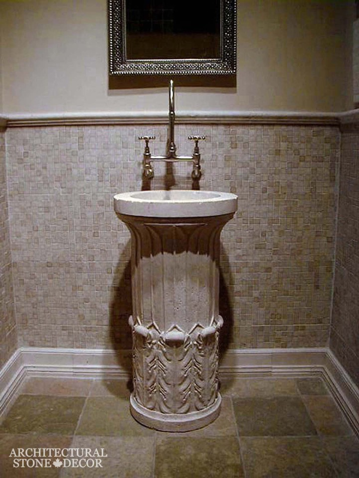 Bathroom-Marble-reclaimed-hand-carved-Limestone-pedestal-Sink-greek-style-powder-room