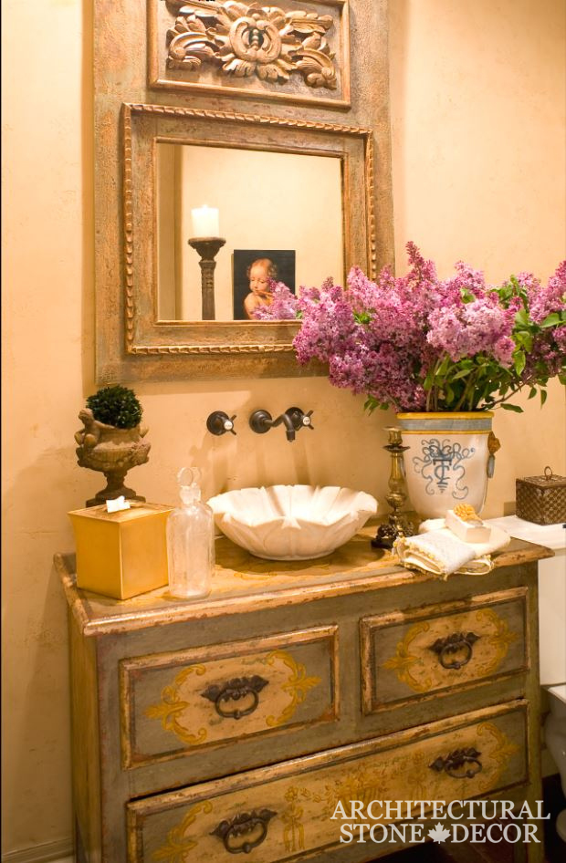 Bathroom-powder-room-Marble-seashell-vanity-bowl-Sinks-Fench-style-powder-room