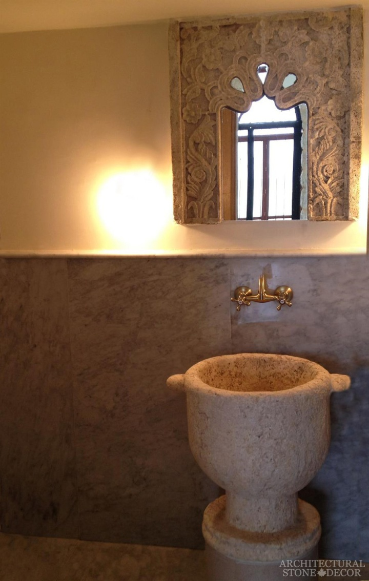 Bathroom-powder-room-reclaimed-hand-carved-Limestone-pedestal-vanity-Sink-Arabesque-stone-mirror
