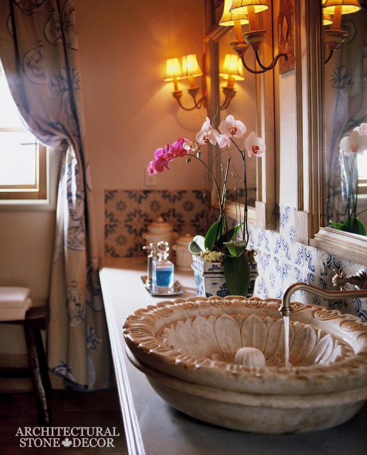 Bathroom-powder-room-reclaimed-hand-carved-Limestone-vessel-half-egg-sink-Italian-Provincial-style