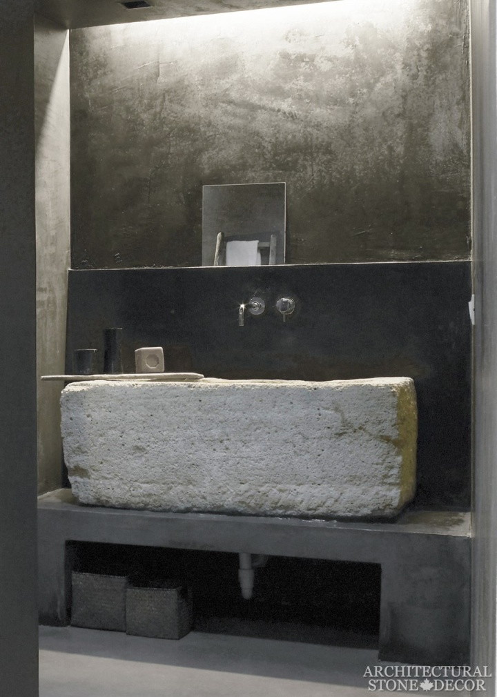 Bathroom-reclaimed-hand-carved-limestone-trough-sink-Modern-Neolithic-Industrial-style