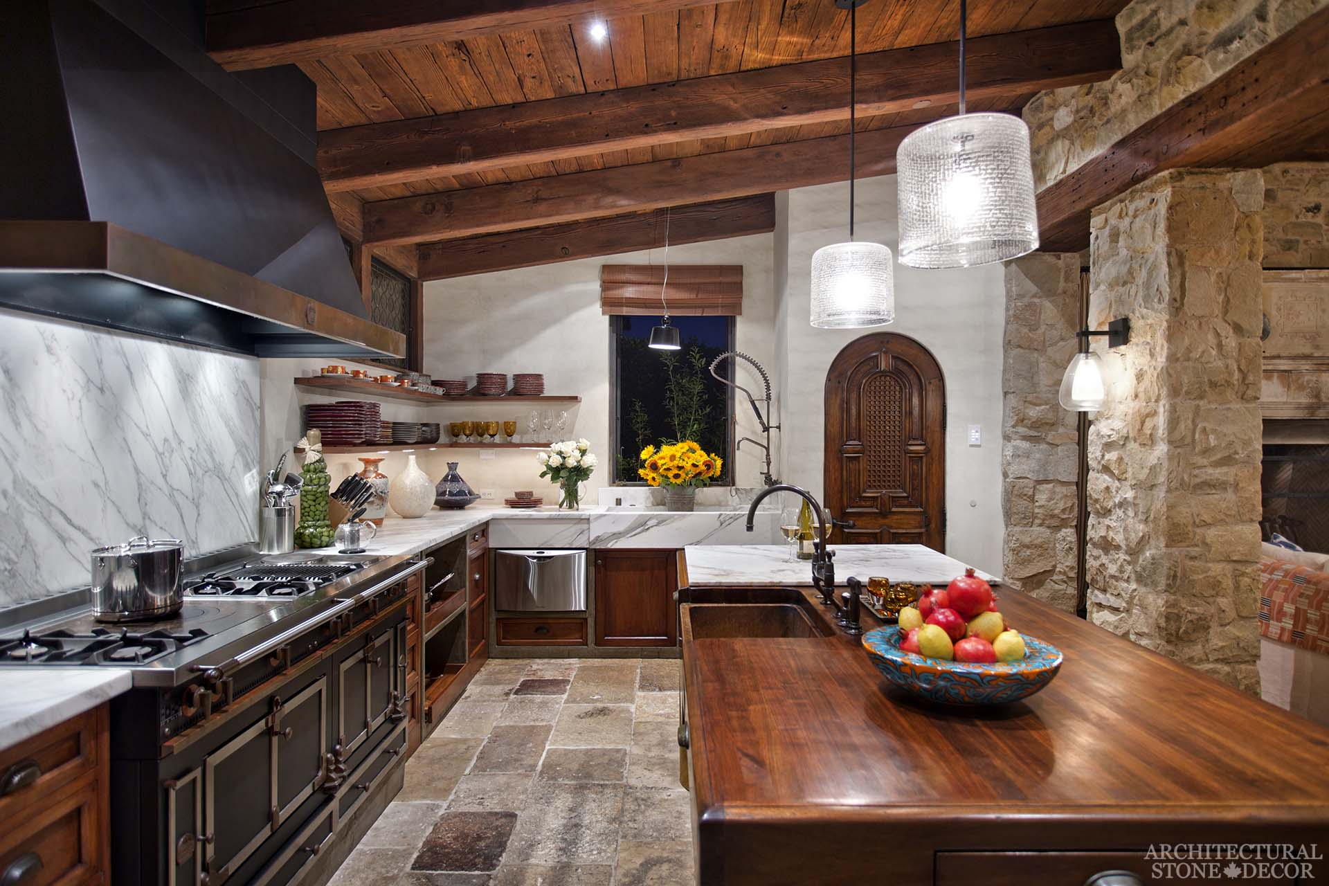 Dalle De Bourgogne Flooring In An Atique Kitchen With Limestone Hood Farmhouse