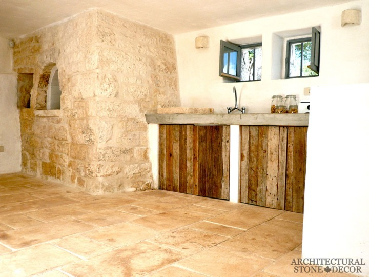 Farmhouse kitchen style with reclaimed limestone flooring