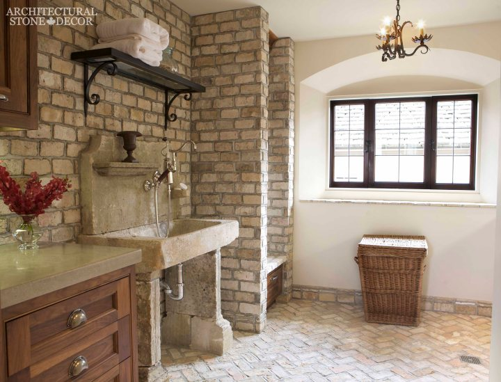 farmhouse with hand carved limestone sink