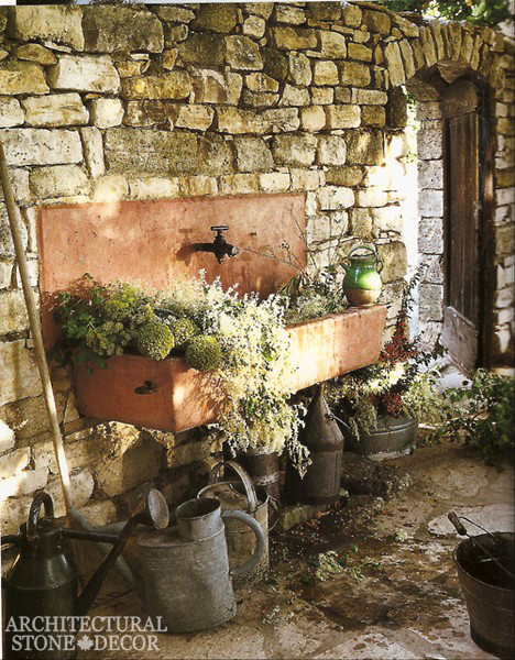 farmhouse style reclaimed outdoor limestone sink