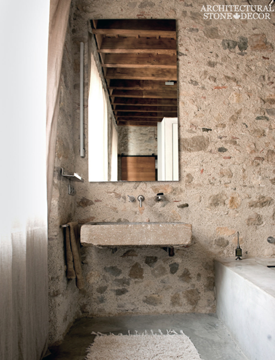 farmhouse bathroom with reclaimed limestone sink