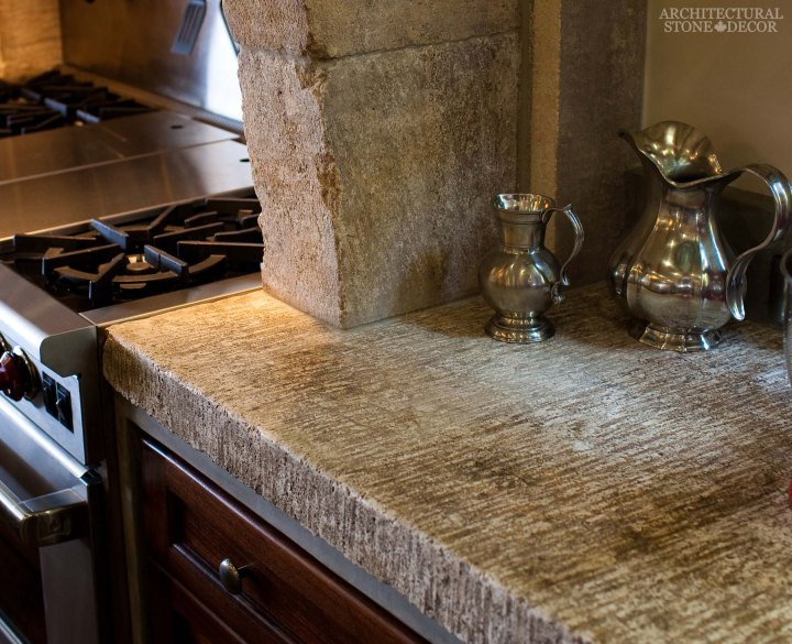 French country kitchen limestone counter slabs