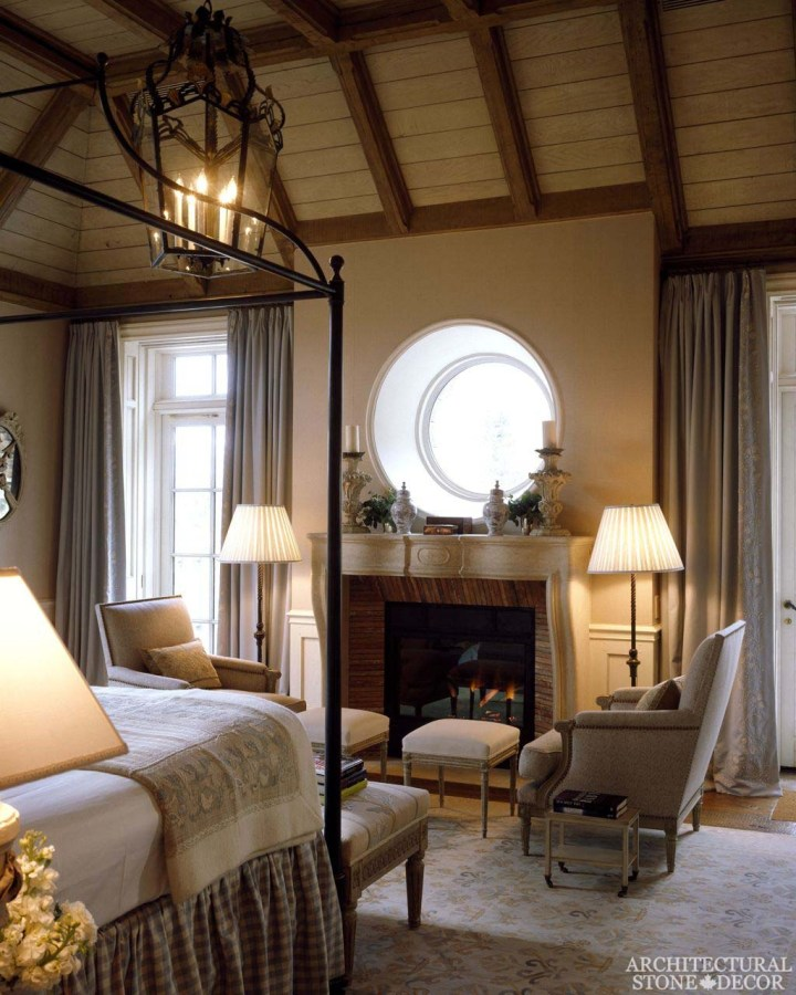 french country style fireplace