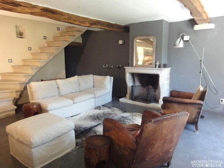French country style reclaimed limestone fireplace