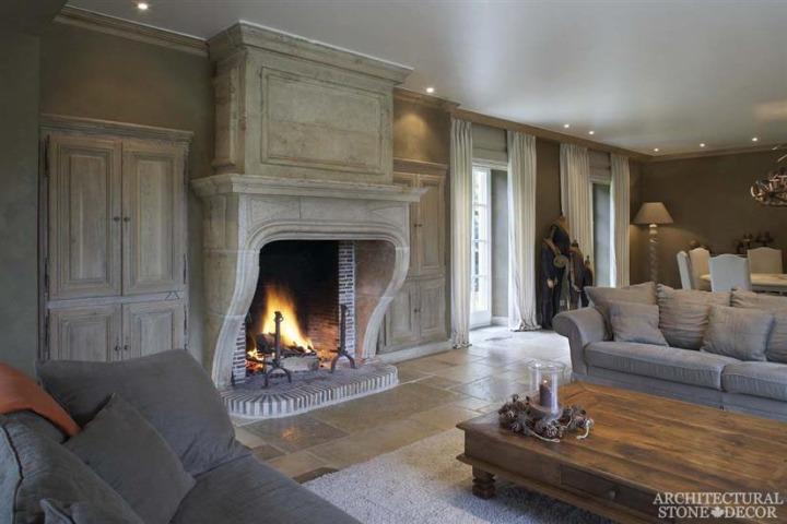 reclaimed limestone mantel fireplace
