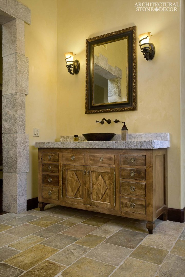 french-country-style-powder-room-sink-reclaimed-butcher-block-counter-top-dalle-de-bourgogne-french-limestone-flooring-canada