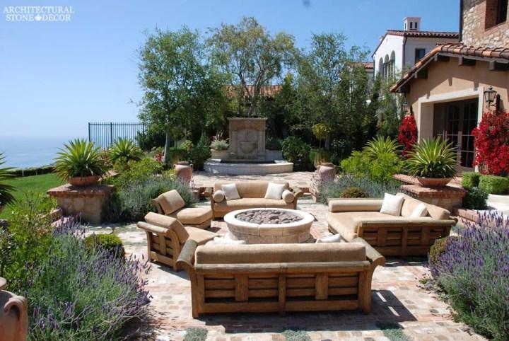tuscan-style-villa-reclaimed-limestone-flooring-barre-gray-reclaimed-reclaimed limestone wall fountain-limestone-firepit-canada-architectural-stone-decor