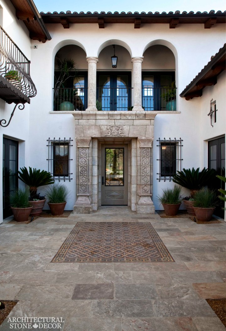 tuscan-style-villa-reclaimed-limestone-flooring-barre-gray-tuscan-style-limestone-entryway-tuscan-style-limestone-columns-canada-architectural-stone-decor