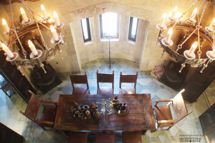 Gothic Medieval dining room castle chande;iers limestone wall cladding flooring rustic wood