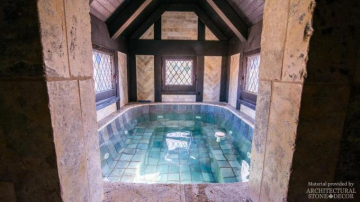 medieval gothic pool jacuzzi relcaimed limestone pool florring coping wall cladding corners