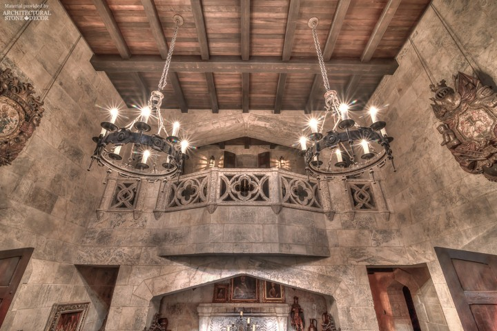 Game of Thrones Gothic Medieval style castle with reclaimed limestone wall cladding, roman arches, balcony balustradesdes, wood ceiling, iron chandeliers