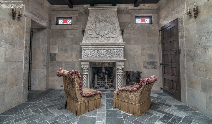 Medieval castle interior reclaimed limestone flooring wall cladding hand carved fireplace mantel