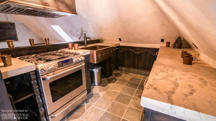 Reclaimed Limestone Butcher Blocks Counter Flooring Medieval Style Kitchen